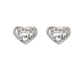 Sterling Silver Filigree Heart Studs