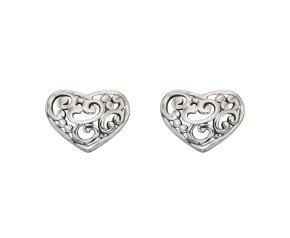 Sterling Silver Filigree Heart Studs