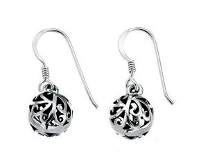 Sterling Silver Filigree Ball Drop Earring