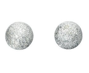 Sterling Silver Frosted Ball Stud Earrings