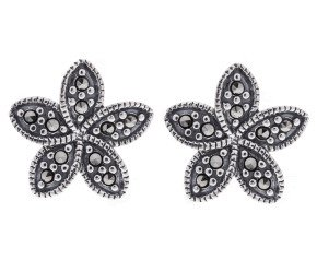 Sterling Silver & Marcasite Flower Stud Earrings