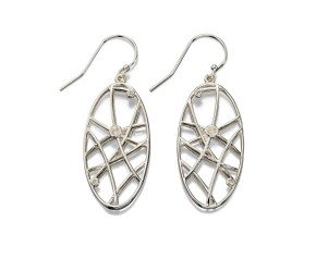 Sterling Silver & Cubic Zirconia Wire Work Drop Earrings