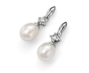 Sterling Silver, Pearl & Cubic Zirconia Drop Earrings