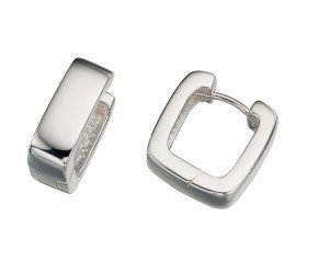 Sterling Silver Rectangular Huggie Earrings