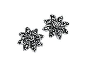 Sterling Silver & Marcasite Daisy Stud Earrings