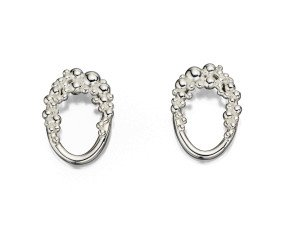 Sterling Silver Oval Granulated Stud Earrings