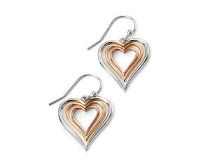 Sterling Silver & Gold Vermeil Heart drop Earrings