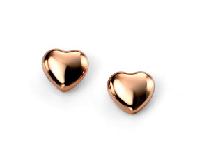 Sterling Silver & Rose Gold Vermeil Heart Stud Earrings