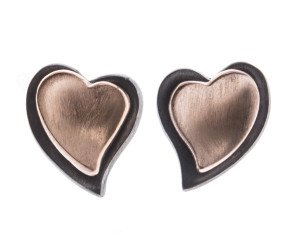 Sterling Silver Oxidised & Rose Gold Plated Heart Stud Earrings