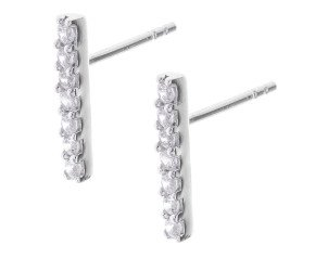 Sterling Silver Cubic Zirconia Bar Drop Earrings