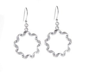 Sterling Silver Spiral Circle Drop Earrings