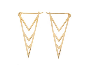 Sterling Silver Gold Plated Geometric Triangular Earrings