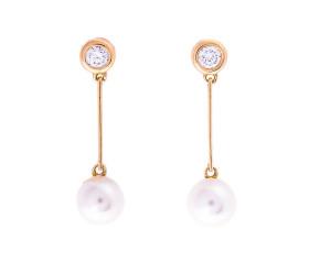 Pre-Owned Faux Pearl & Cubic Zirconia Drop Earrings