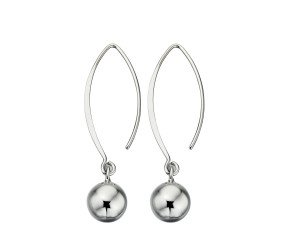 Sterling Silver Sphere Drop Hook Earrings