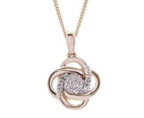 9ct Rose Gold Diamond Orbital Pendant