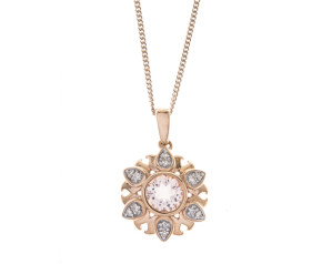 9ct Rose Gold Morganite & Diamond Flower Pendant