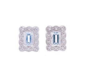 Pre-Owned 9ct White Gold Aquamarine & Diamond Cluster Earrings