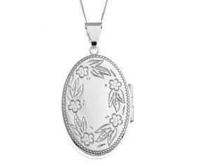 Sterling Silver Forget Me Not Large Oval Locket