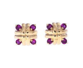 9ct Gold Ruby Cross-Hatch Stud Earrings