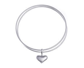 Sterling Silver Heart Decoration Double Bangle