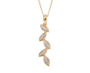 9ct Gold Diamond Leaf Pendant