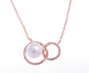Sterling Silver Rose Gold Vermeil Pearl Necklet