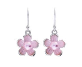 Sterling Silver Pink Pearl Blossom Flower Earrings
