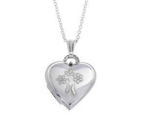 Pre-Owned Sterling Silver Flower Heart Locket
