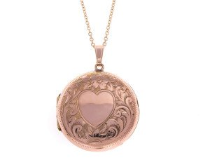 Vintage Heart Engraved Round Front & Back Locket