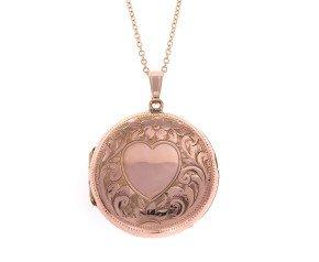 Vintage Heart Engraved Round Front & Back Locket