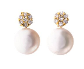 18ct Gold Akoya Pearl & 0.20ct Diamond Pearl Stud Earrings