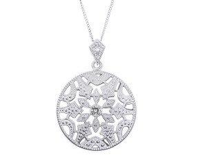 Sterling Silver & Diamond Milgraine Open Work Pendant