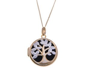 9ct Gold Round Open Work Tree Locket