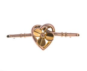 Antique Victorian 15ct Gold Clover & Heart Bar Brooch