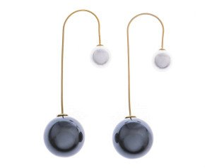 Sterling Silver Dramatic Double Pearl Drop Earrings
