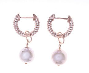 Sterling Silver & Rose Gold Plated Freshwater Pearl Multiway Drop Earrings