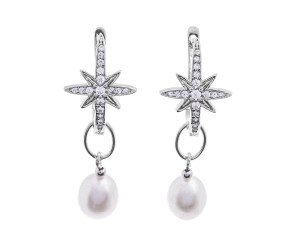 Sterling Silver Star Burst Pearl Drop Earrings