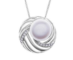 Sterling Silver Button Pearl & Cubic Zirconia Pendant