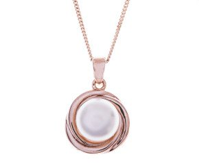 Sterling Silver & Rose Gold Vermeil Button Pearl Pendant