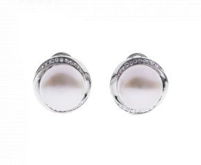 Sterling Silver 11mm Button Pearl Twisted Circle Earrings
