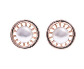 Sterling Silver & Rose Gold Plate Pearl Web Earrings