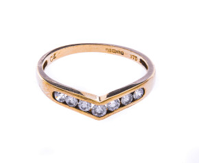 Pre-Owned 9ct Gold Cubic Zirconia Half Eternity Ring