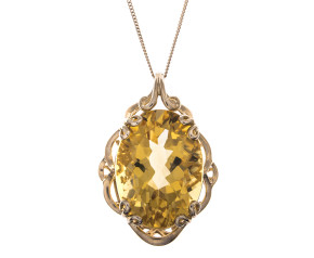 Pre-Owned 9ct Gold 18.50ct Citrine Pendant