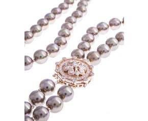 Sterling Silver & Rose Gold Plated 8mm Cognac Pearl Double Row Necklace