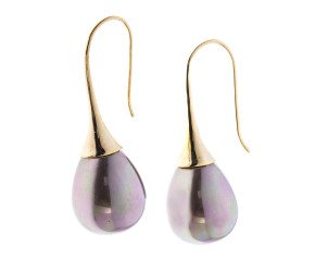 Sterling Silver & Gold Plate Cognac Pearl Drop Earrings
