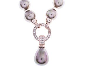 Sterling Silver & Rose Gold Plated 12mm Cognac Pearl Necklace with Enhancer