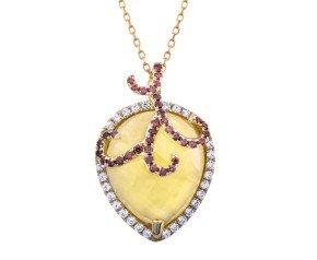 Sterling Silver & 18ct Gold Vermeil Citrine Drop Necklace