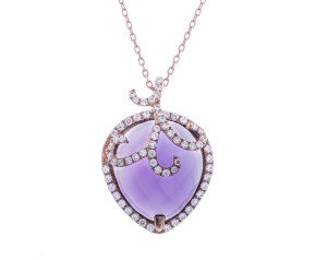 Sterling Silver & 18ct Rose Gold Vermeil Amethyst Drop Necklace