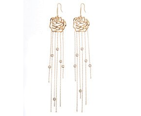 Sterling Silver & Gold Vermeil Rose Drop Earrings