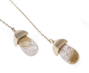 Sterling Silver & Gold Vermeil Rutilated Quartz Lariat Necklace